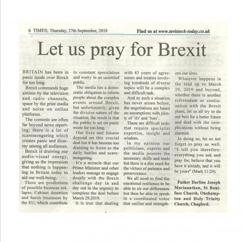 Pray for Brexit_Thursday 27th Sept 2018